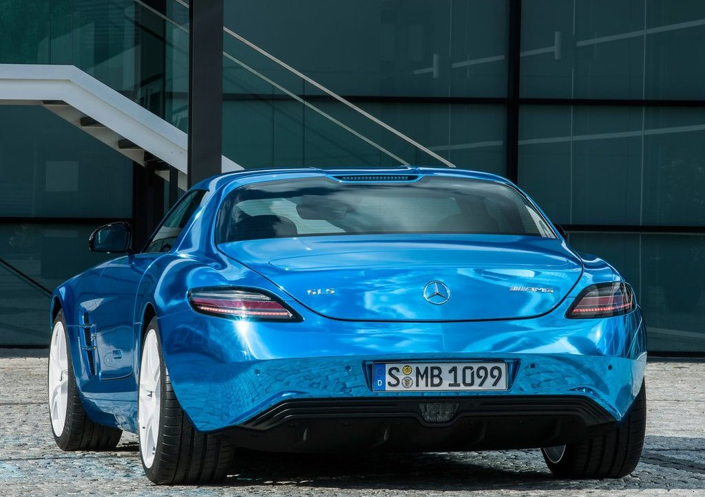 Mercedes SLS AMG Coupe Electric Drive Rear (View 5 of 8)
