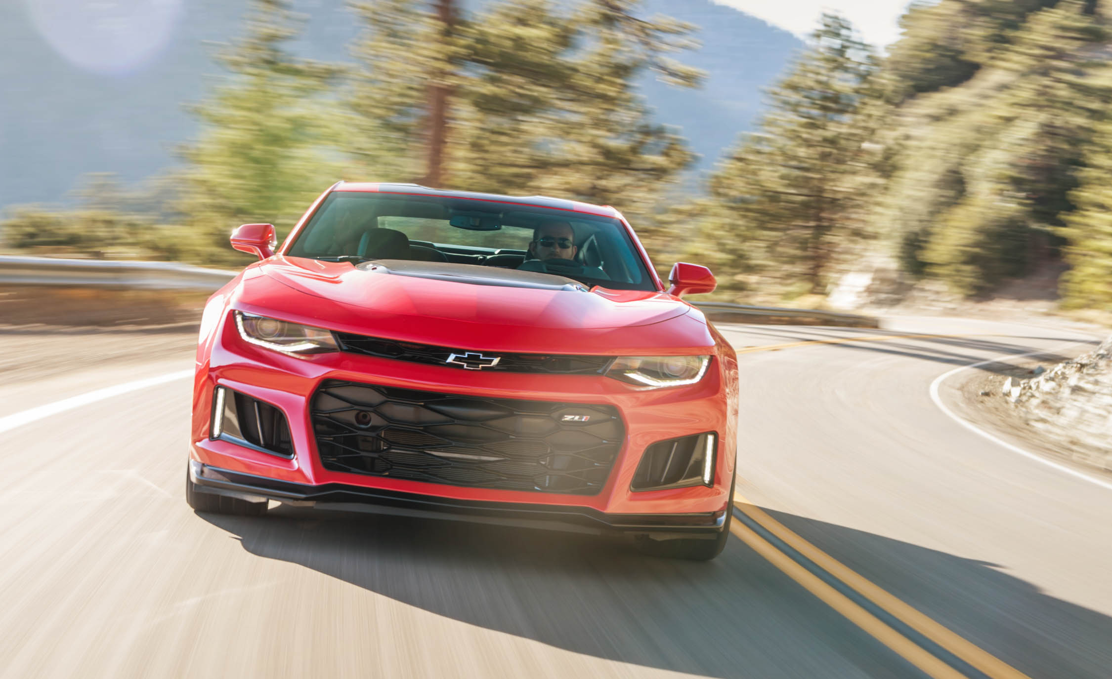 2017 Chevrolet Camaro ZL1 Red Test Drive Front DRL On (Photo 36 of 62)