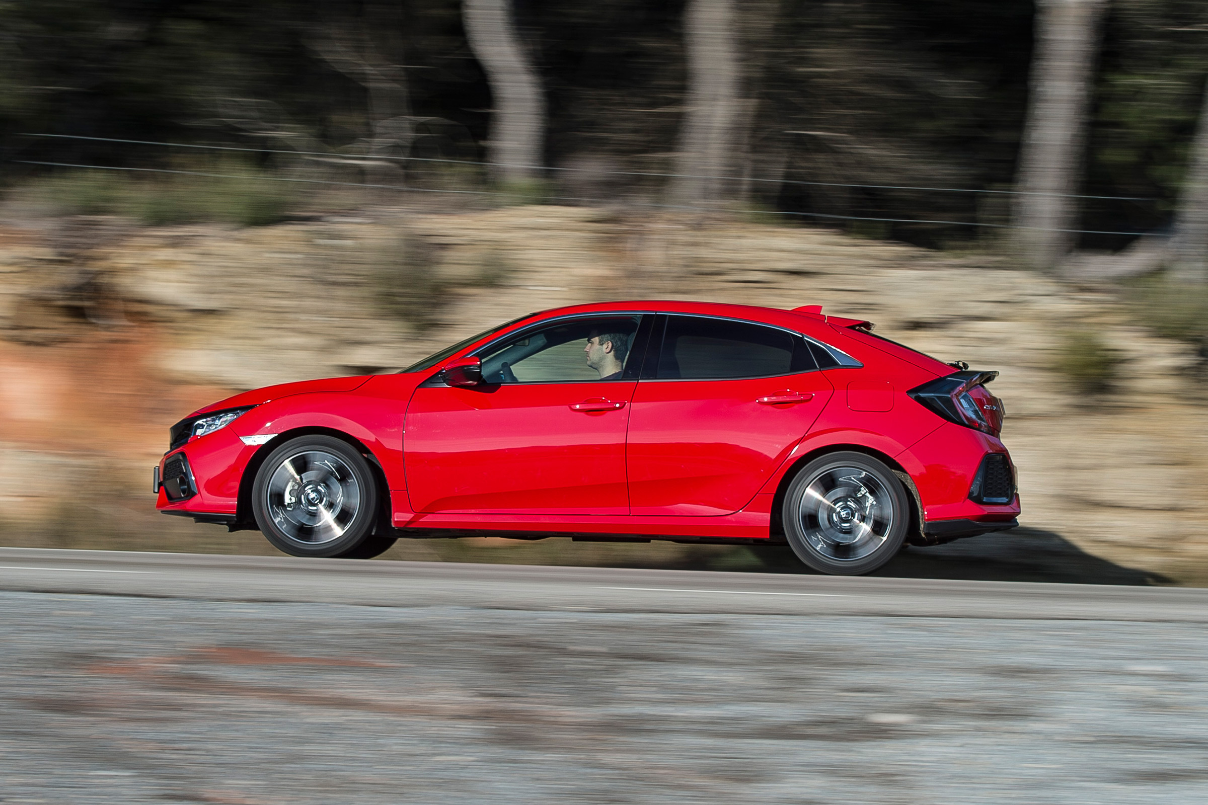 2017 Honda Civic Hatchback Red Test Drive Side View (View 19 of 34)