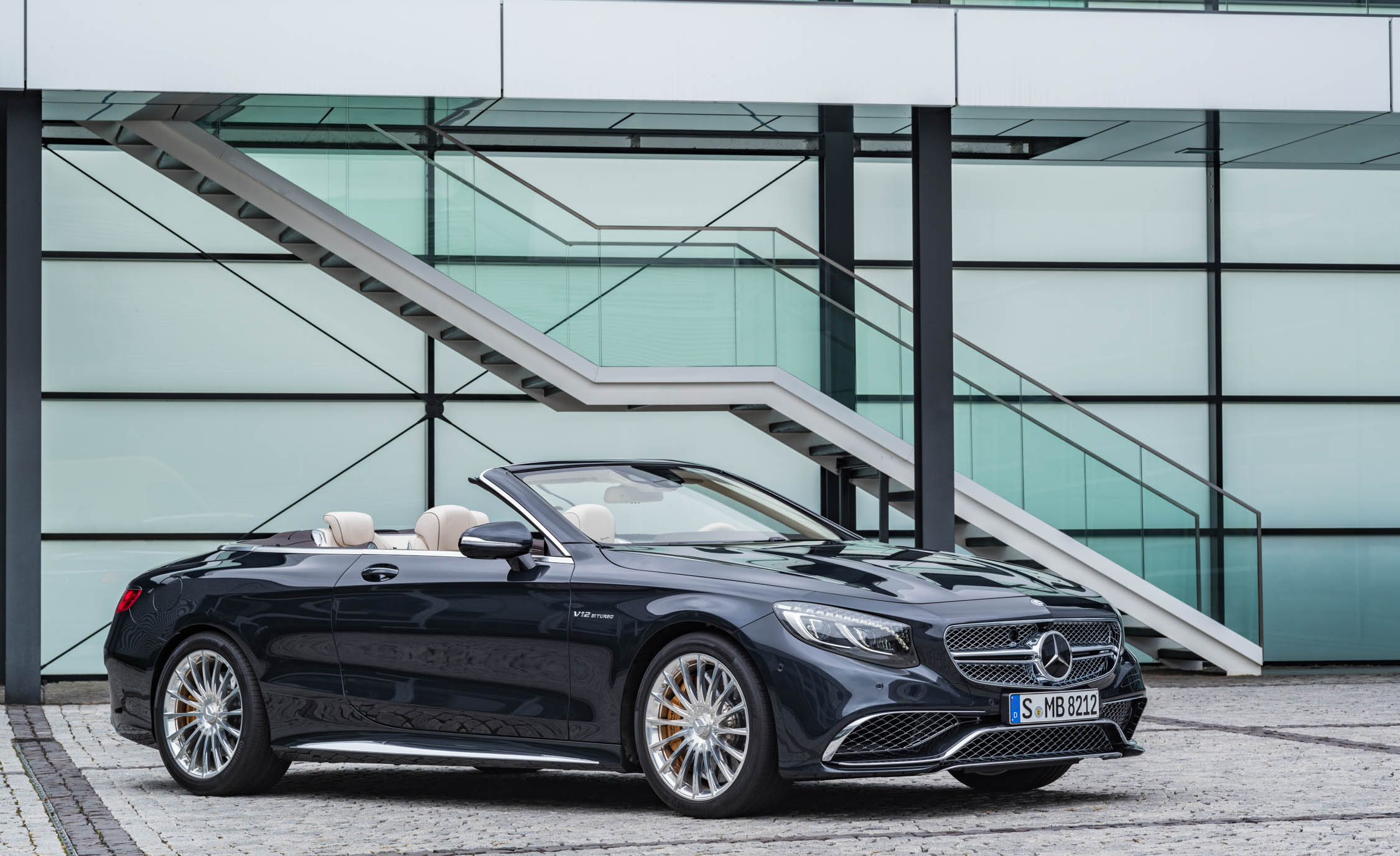 2017 Mercedes Amg S65 Cabriolet Exterior Front And Side View Roof Open (Photo 4 of 15)