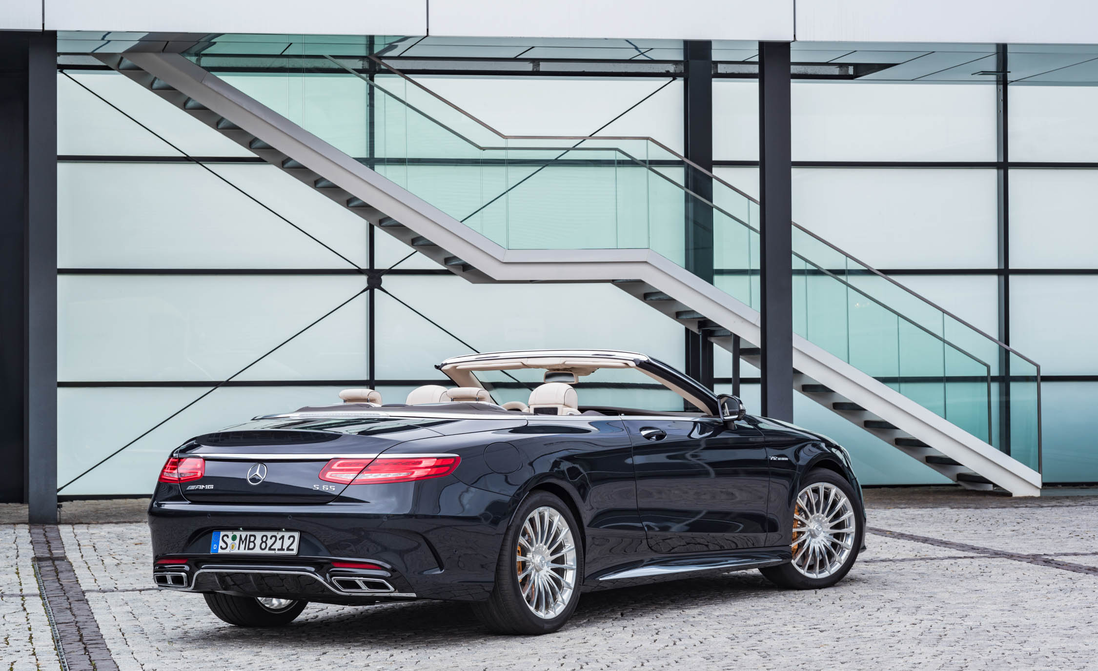 2017 Mercedes Amg S65 Cabriolet Exterior Rear And Side View Roof Open (Photo 8 of 15)