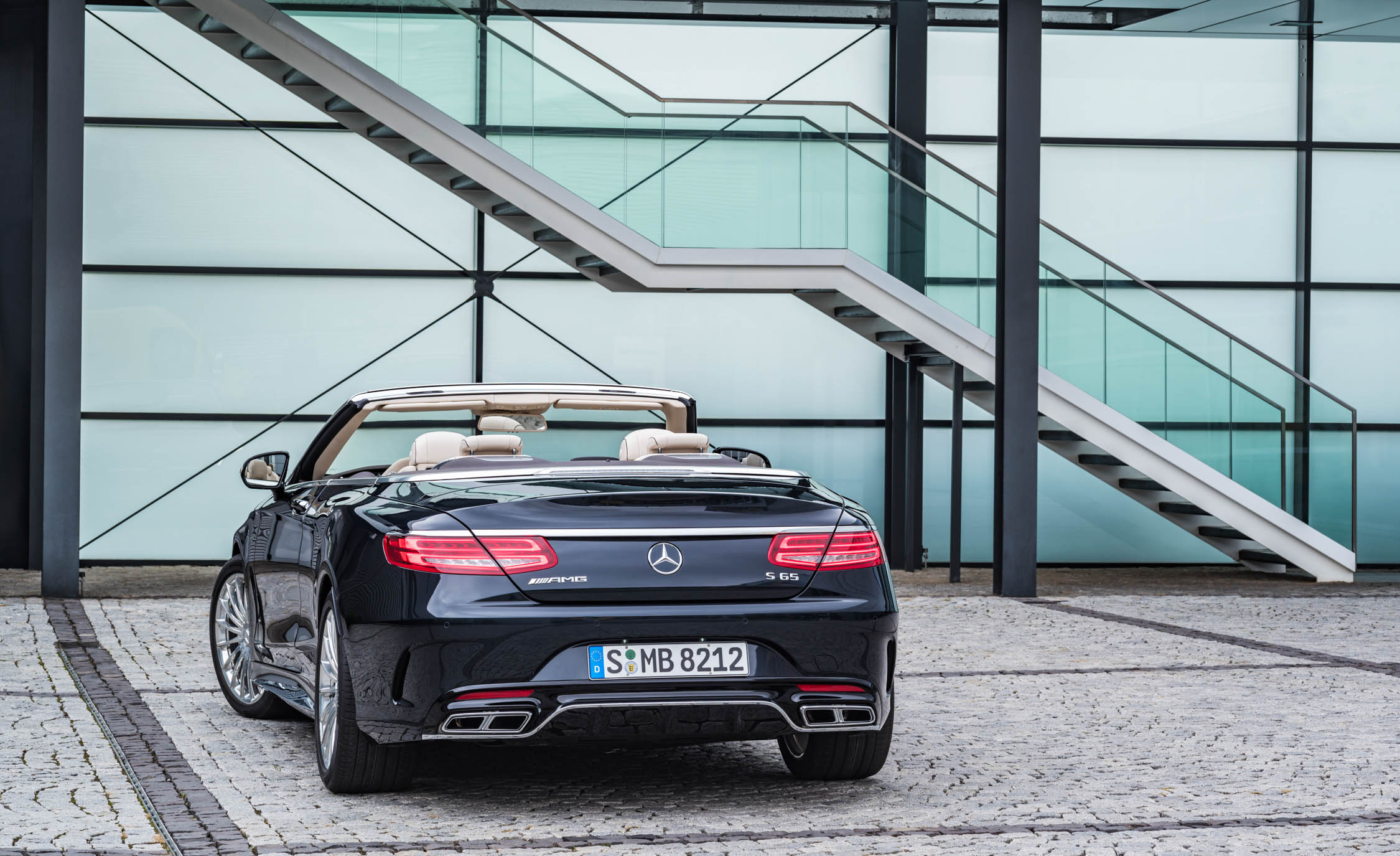 2017 Mercedes Amg S65 Cabriolet Exterior Rear View Roof Open (Photo 8 of 15)