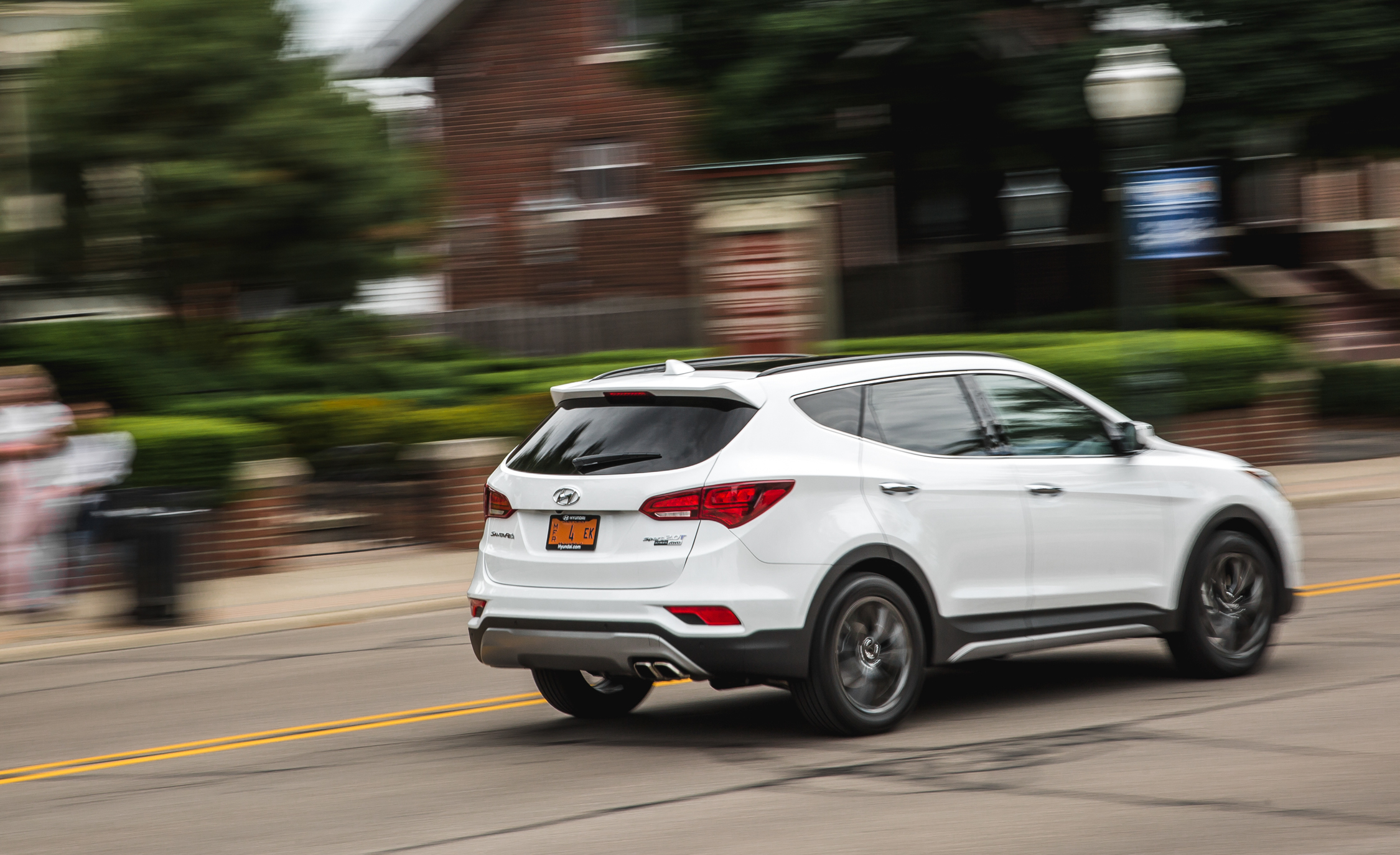 2017 Hyundai Santa Fe Test Drive Rear Side View (Photo 10 of 12)