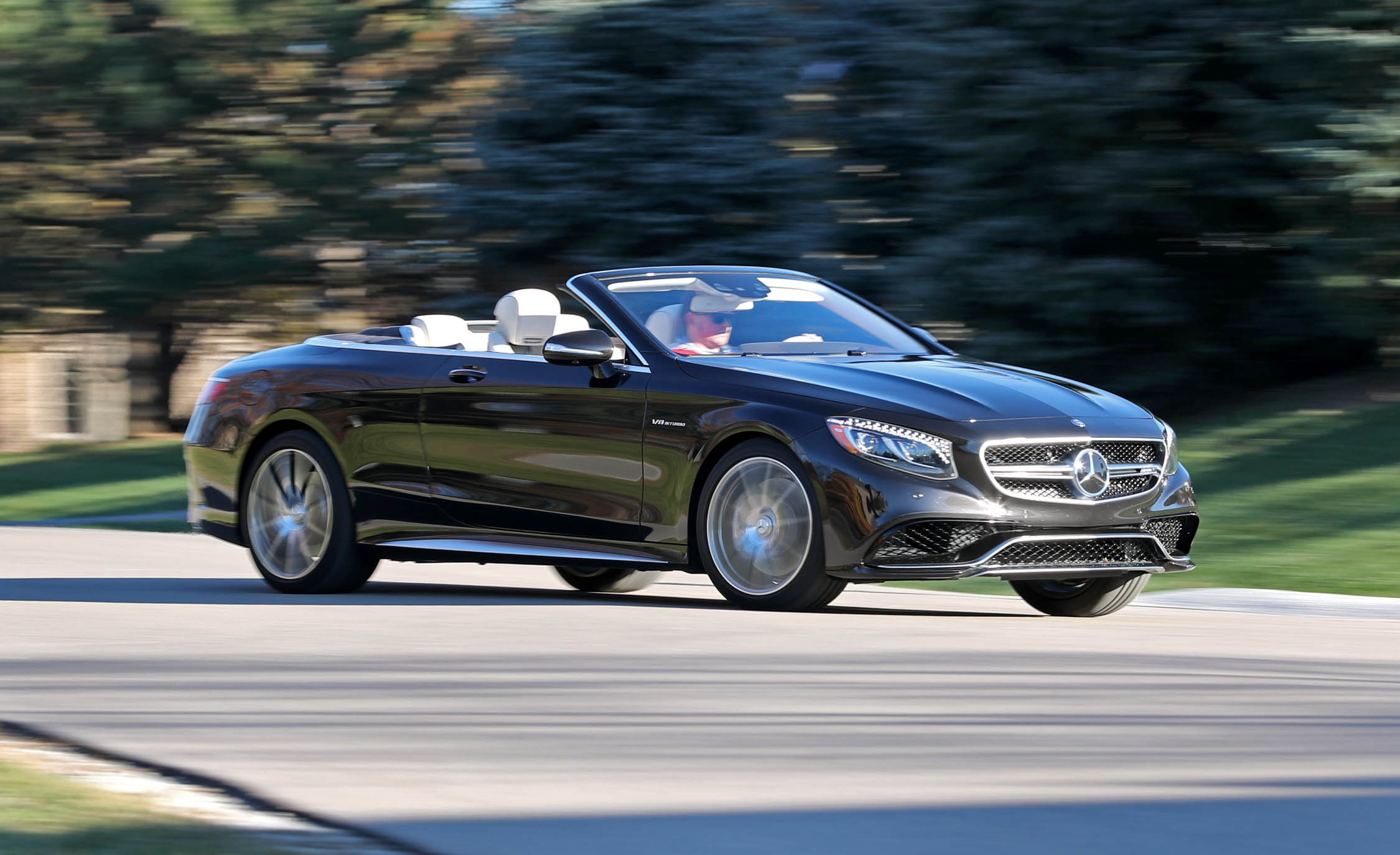 2017 Mercedes Amg S63 Cabriolet Test Drive Front And Side View Roof Open (Photo 27 of 38)