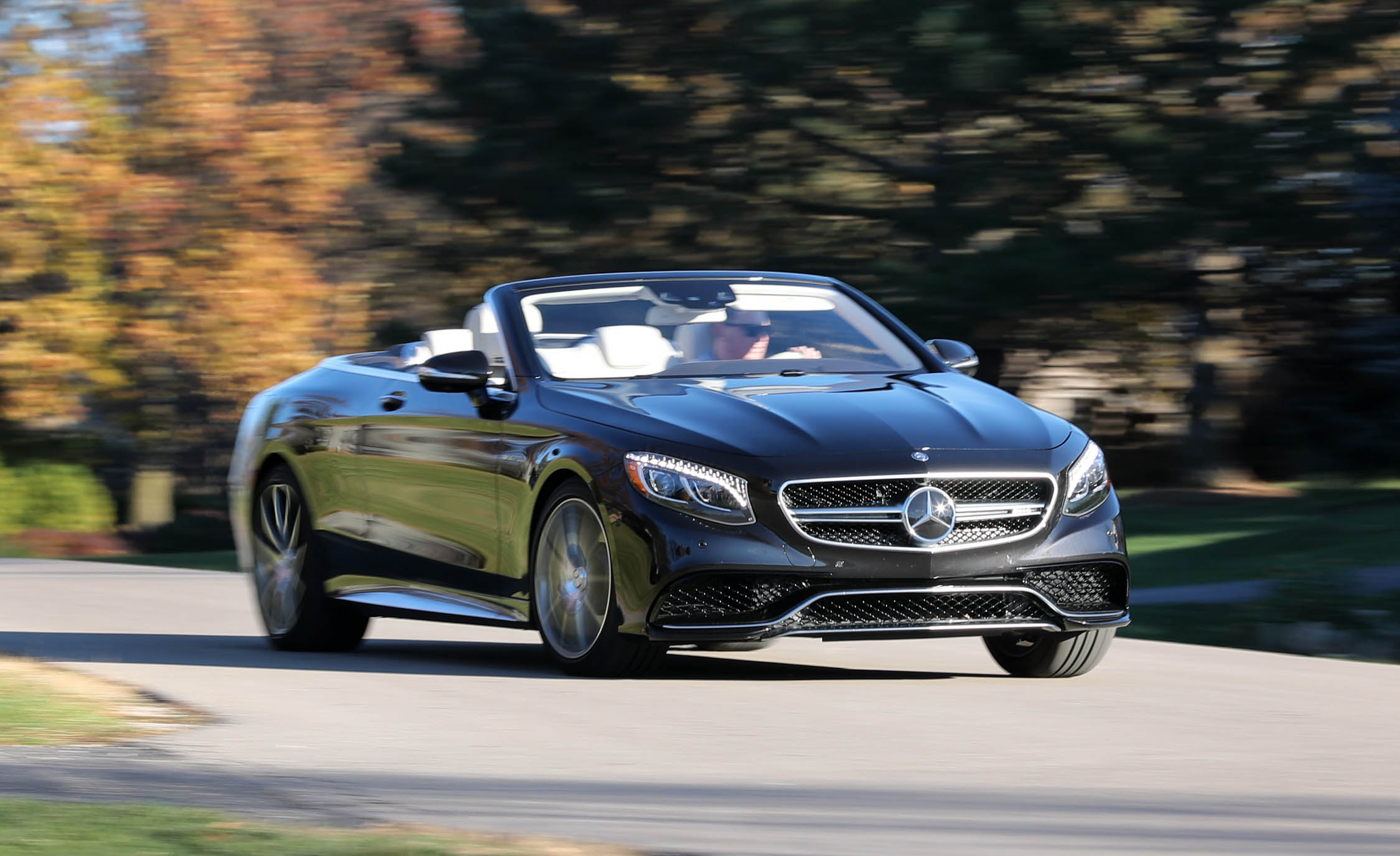 2017 Mercedes Amg S63 Cabriolet Test Drive Front View Roof Open (Photo 30 of 38)
