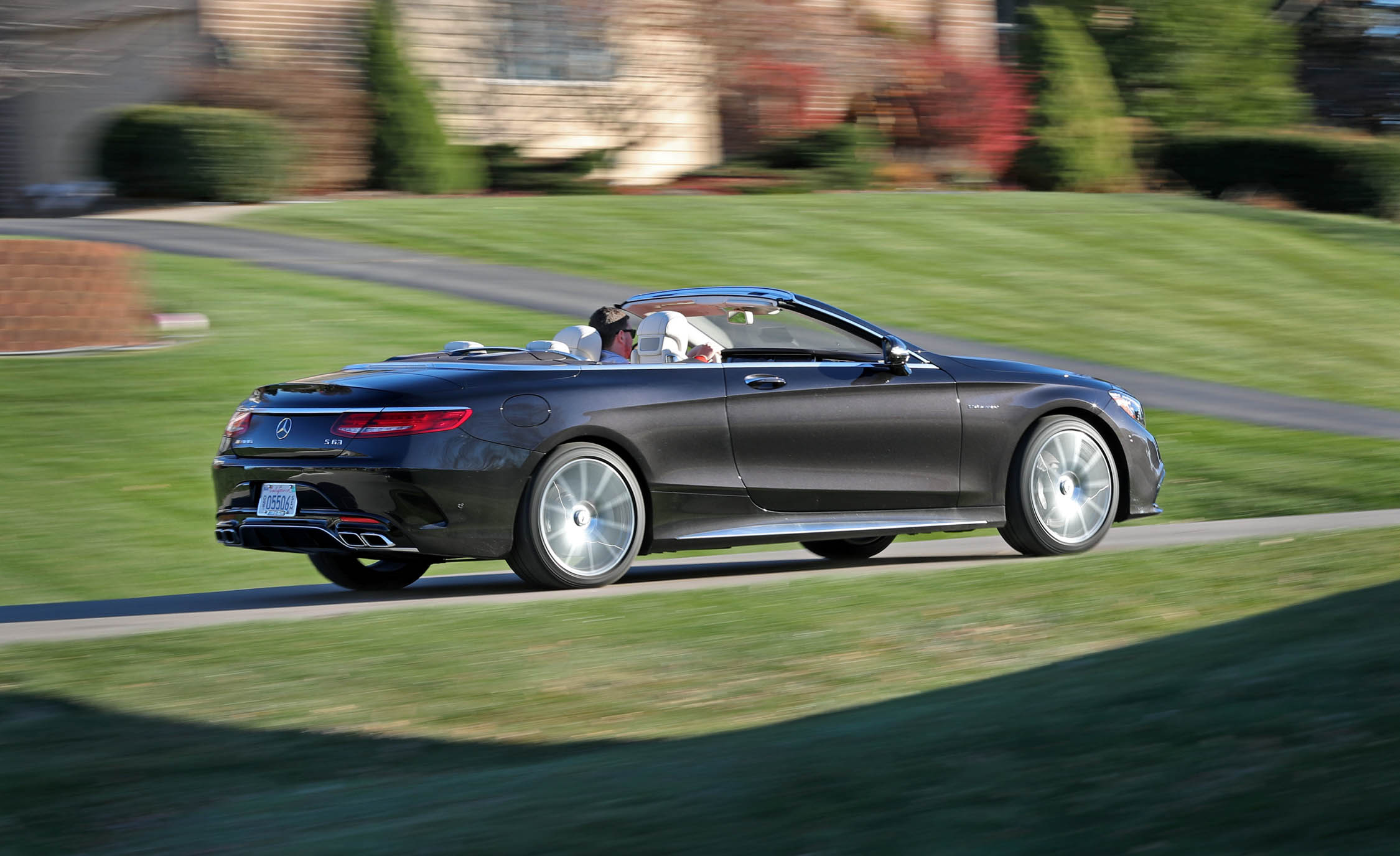 2017 Mercedes Amg S63 Cabriolet Test Drive Rear And Side View Roof Open (Photo 32 of 38)