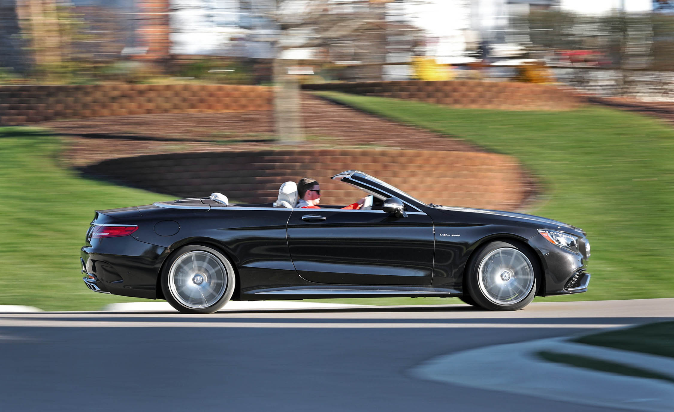 2017 Mercedes Amg S63 Cabriolet Test Drive Side View Roof Open (Photo 38 of 38)