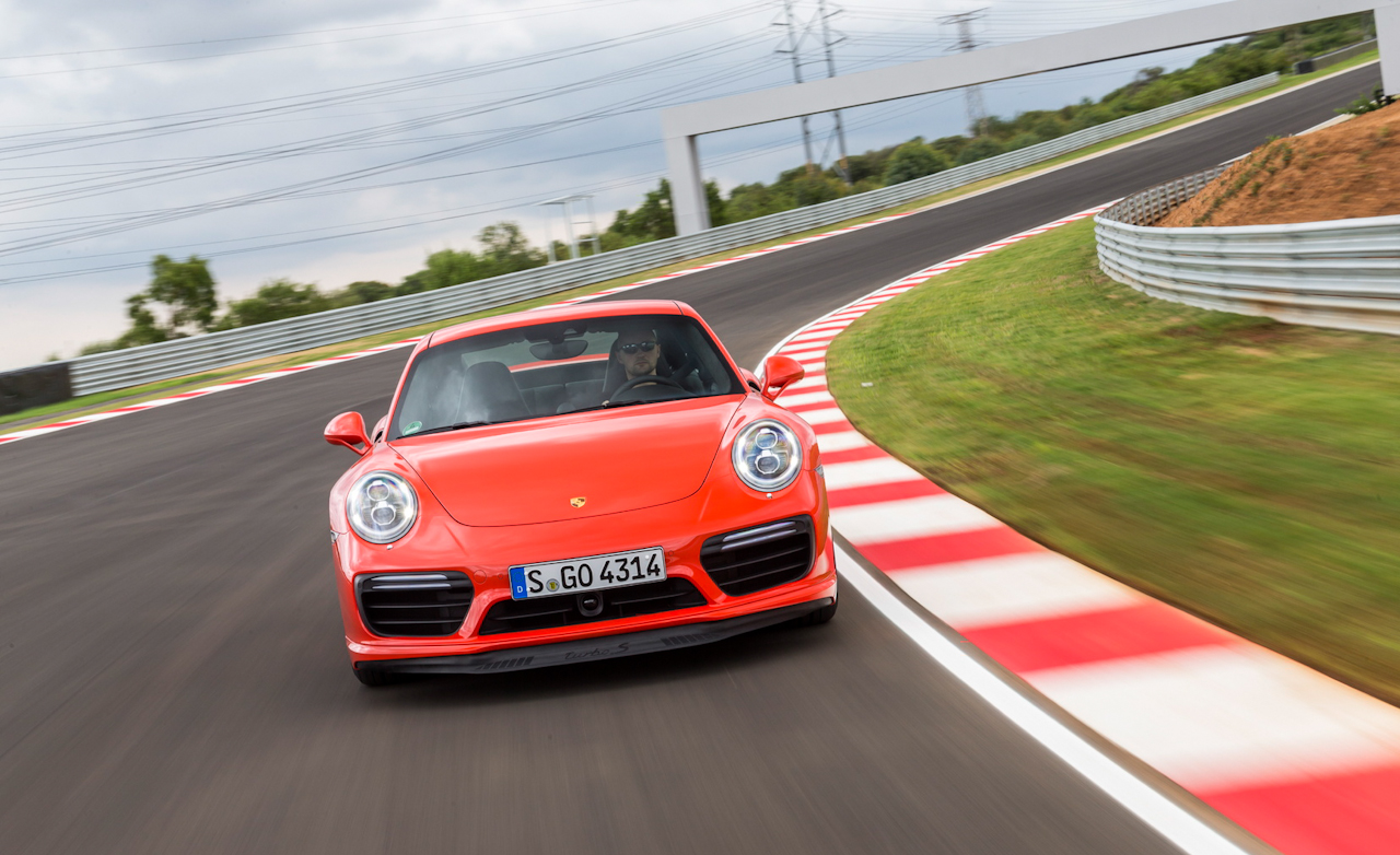 2017 Porsche 911 Turbo S Red Test Drive Front View (Photo 26 of 58)