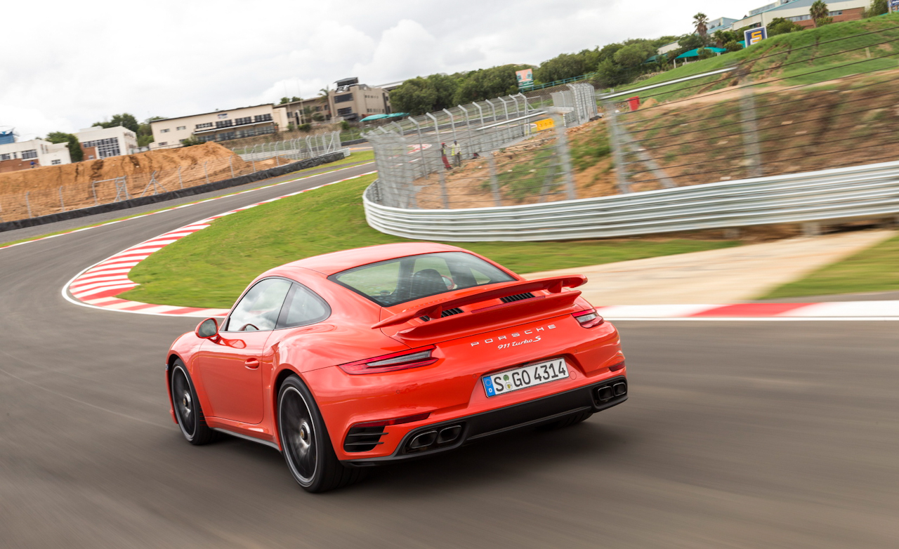 2017 Porsche 911 Turbo S Red Test Drive Rear And Side View (Photo 27 of 58)