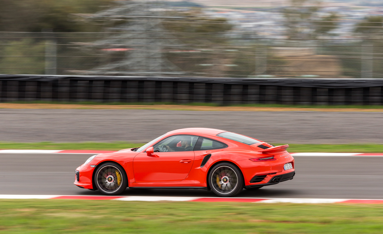 2017 Porsche 911 Turbo S Red Test Drive Side View (Photo 28 of 58)