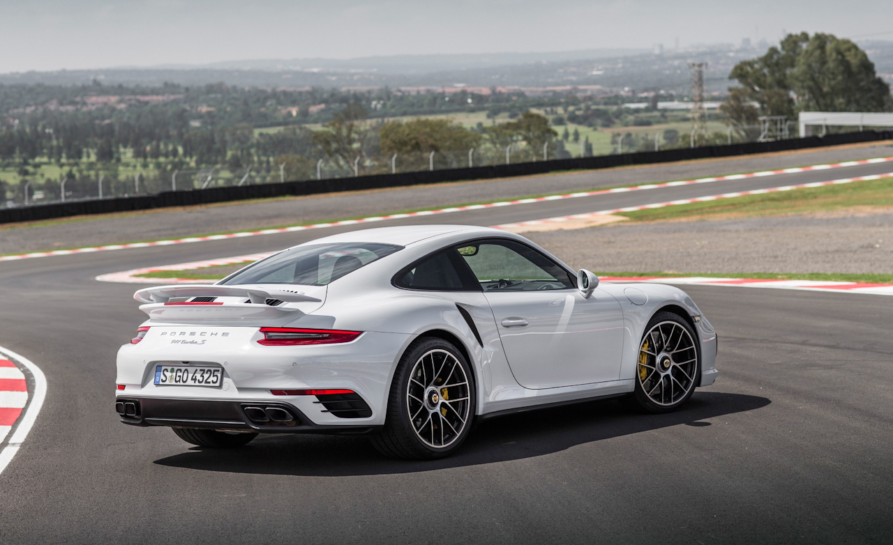 2017 Porsche 911 Turbo S White Exterior Rear And Side (Photo 32 of 58)