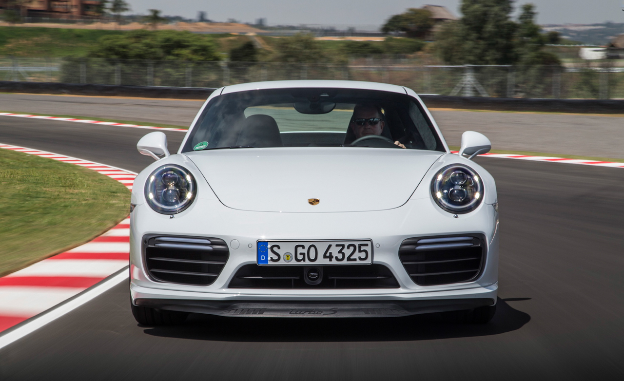 2017 Porsche 911 Turbo S White Test Drive Front View (Photo 38 of 58)
