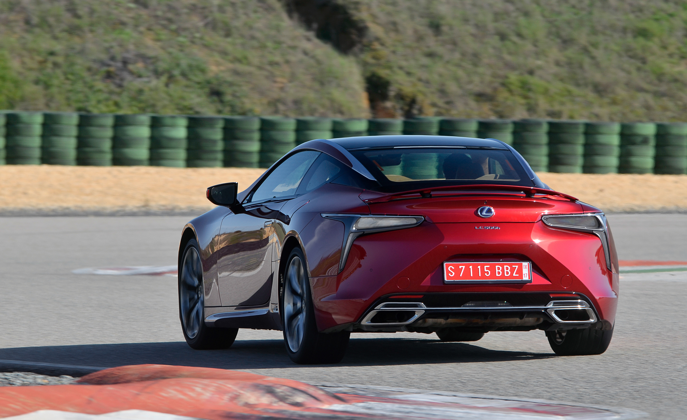 2018 Lexus Lc 500 Red Test Drive Rear Corner (Photo 25 of 84)