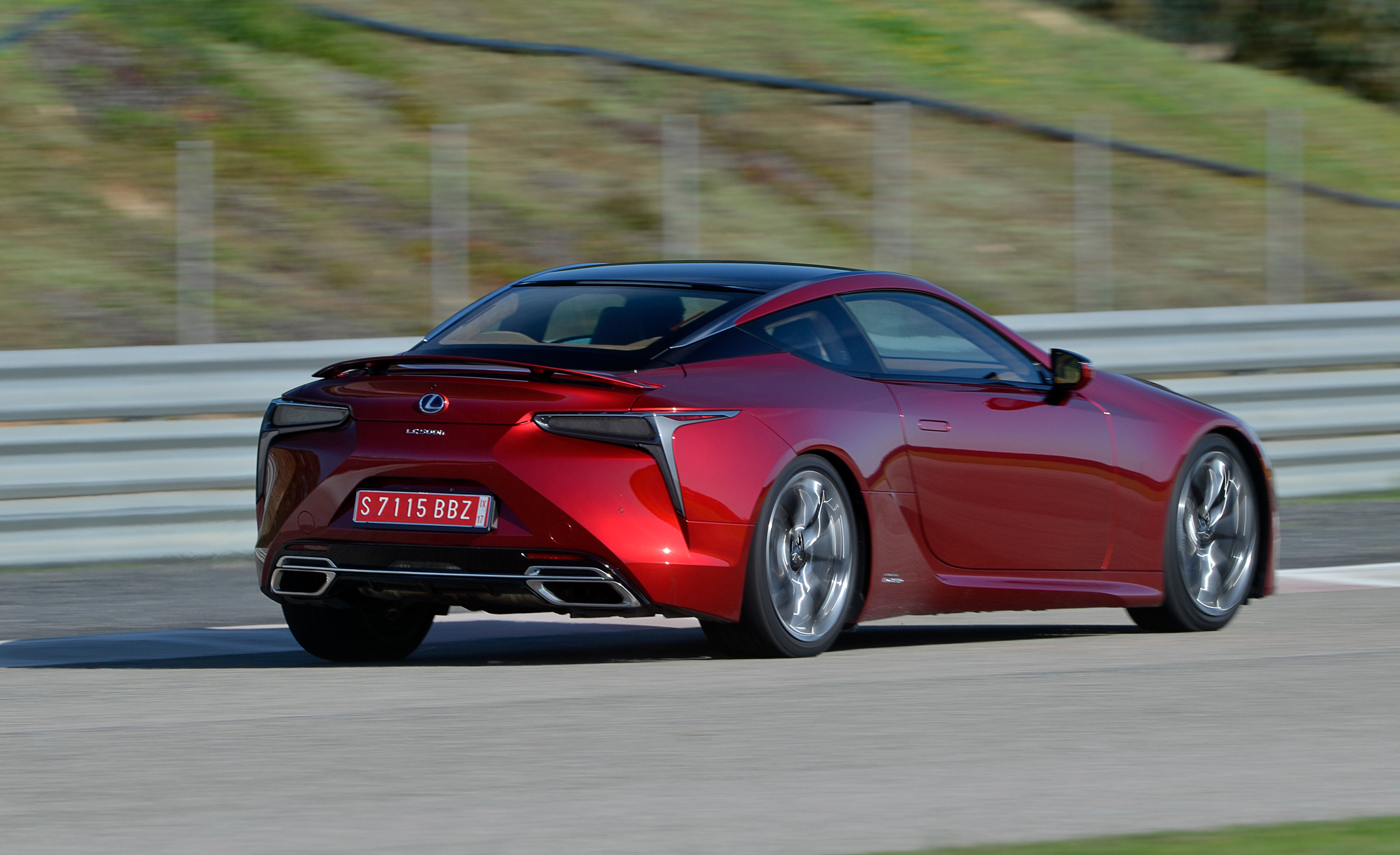 2018 Lexus Lc 500 Red Test Drive Side And Rear View (Photo 6 of 84)