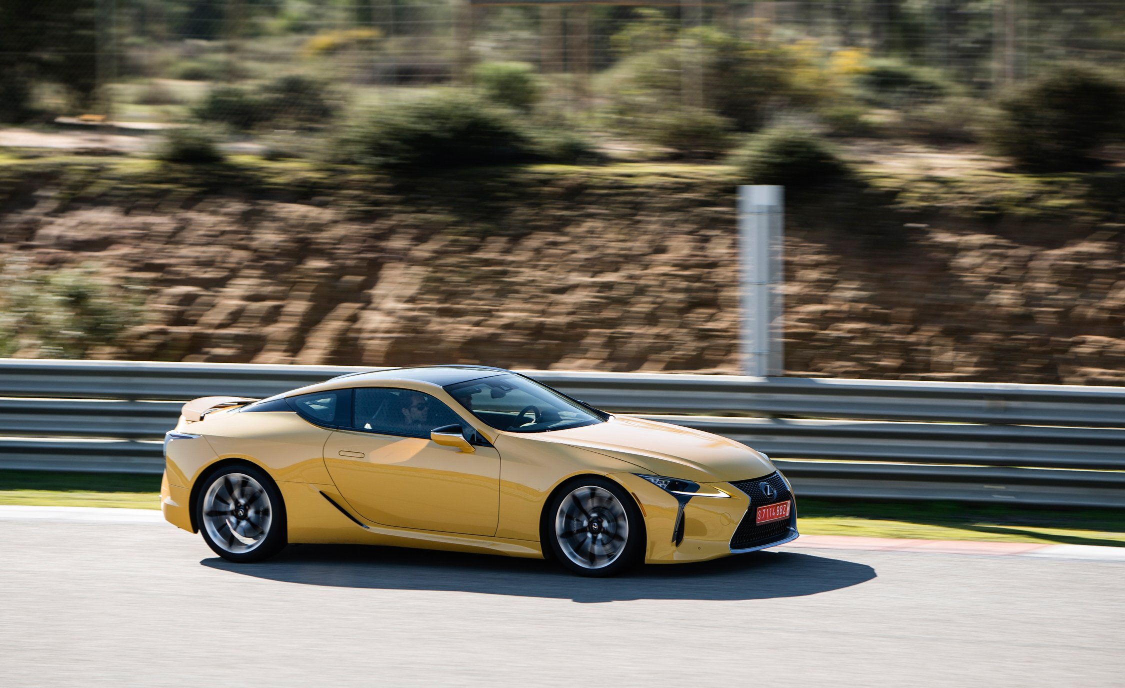 2018 Lexus Lc 500 Yellow Test Drive Front And Side View (Photo 16 of 84)