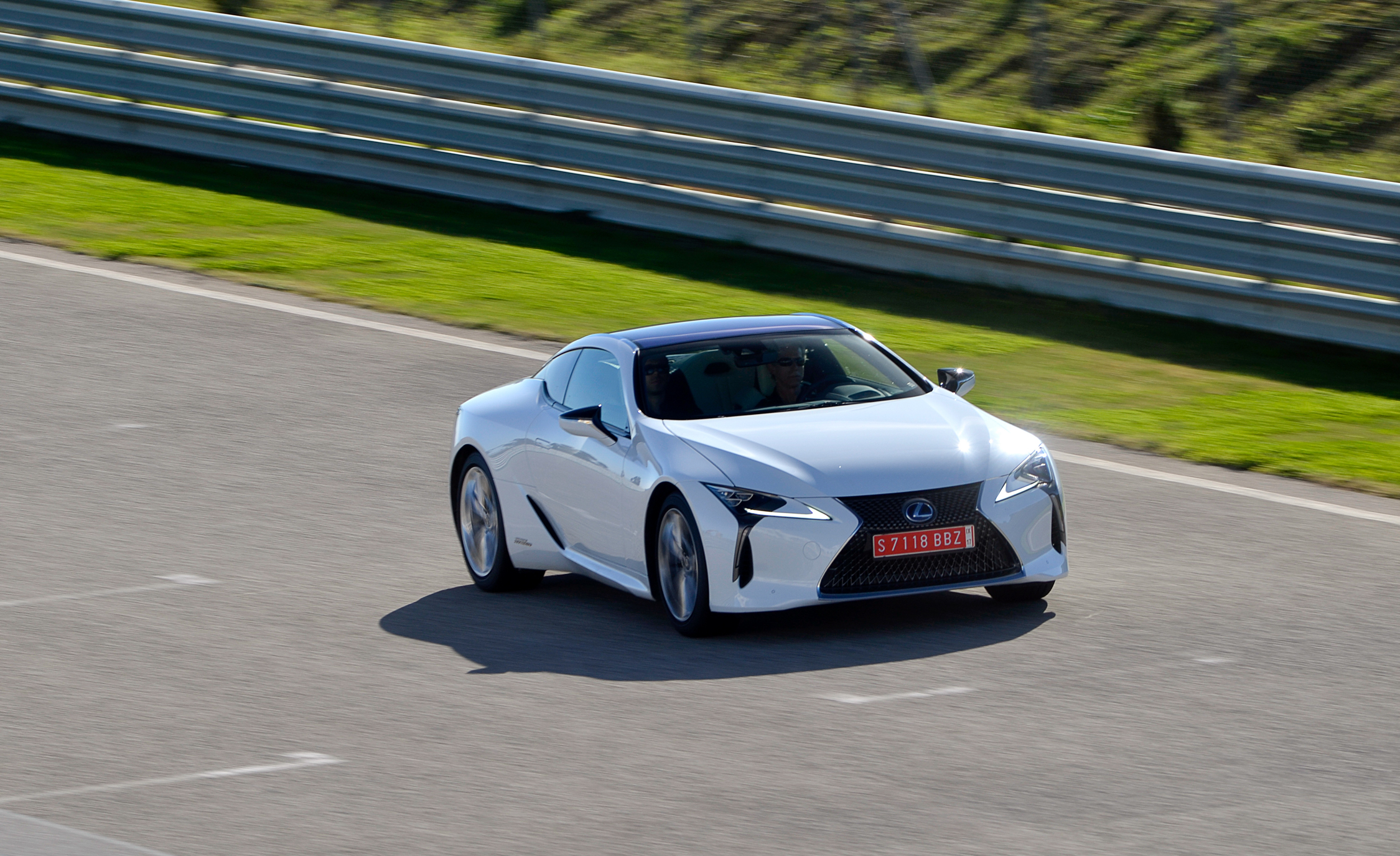 2018 Lexus Lc 500h White Test Drive Front And Side View (View 28 of 84)