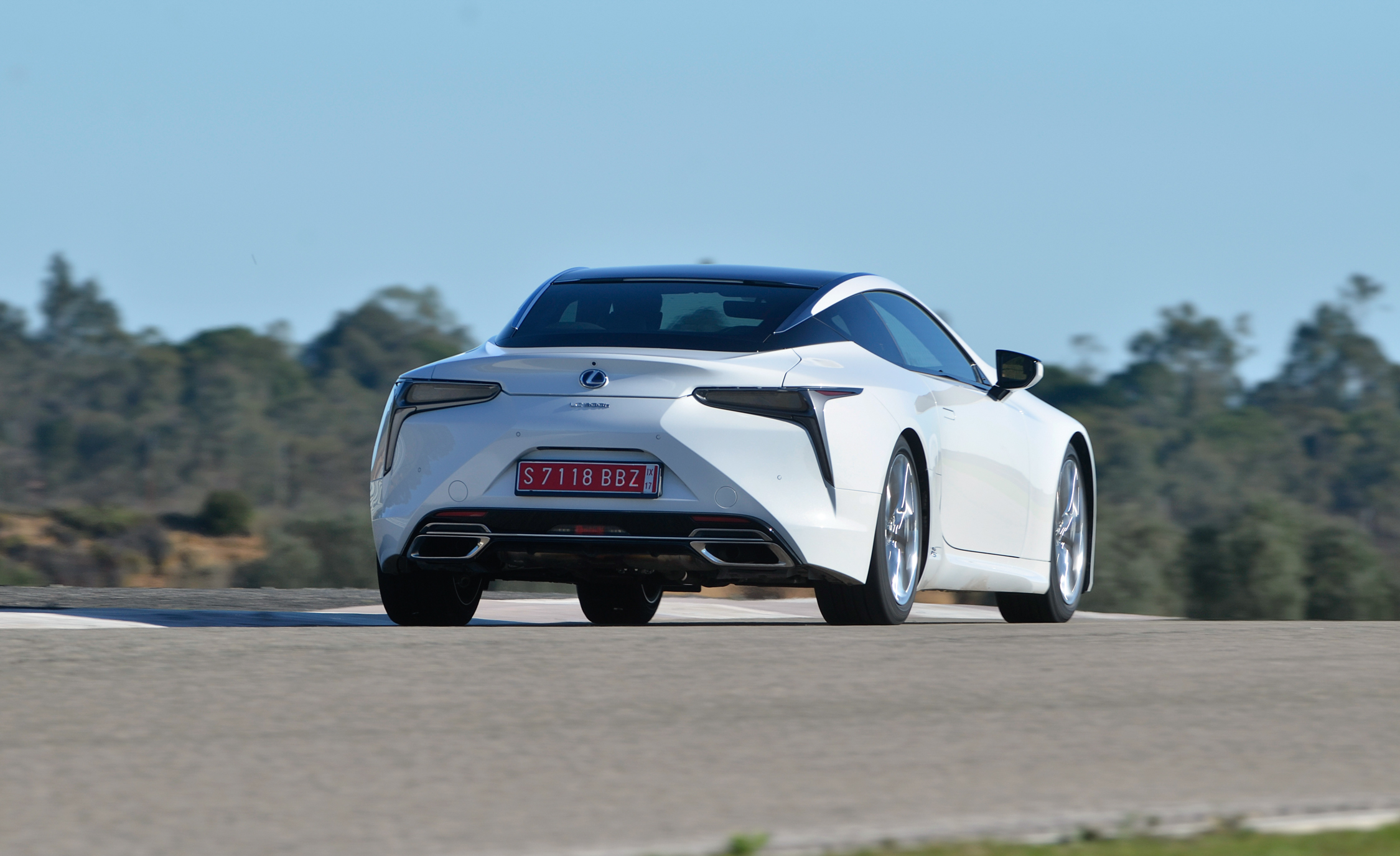 2018 Lexus Lc 500h White Test Drive Rear And Side View (View 31 of 84)