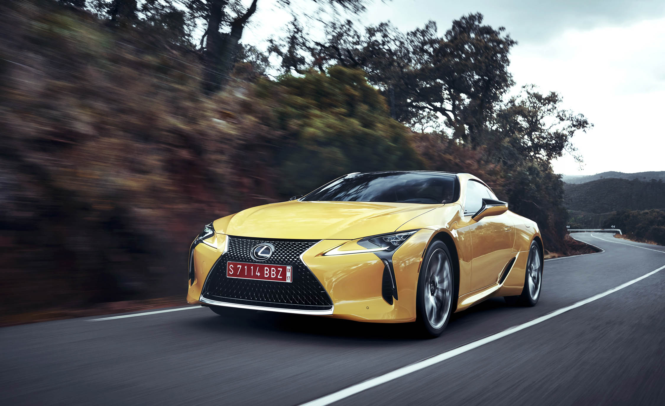2018 Lexus Lc500 Yellow Test Drive Front Corner View (Photo 74 of 84)