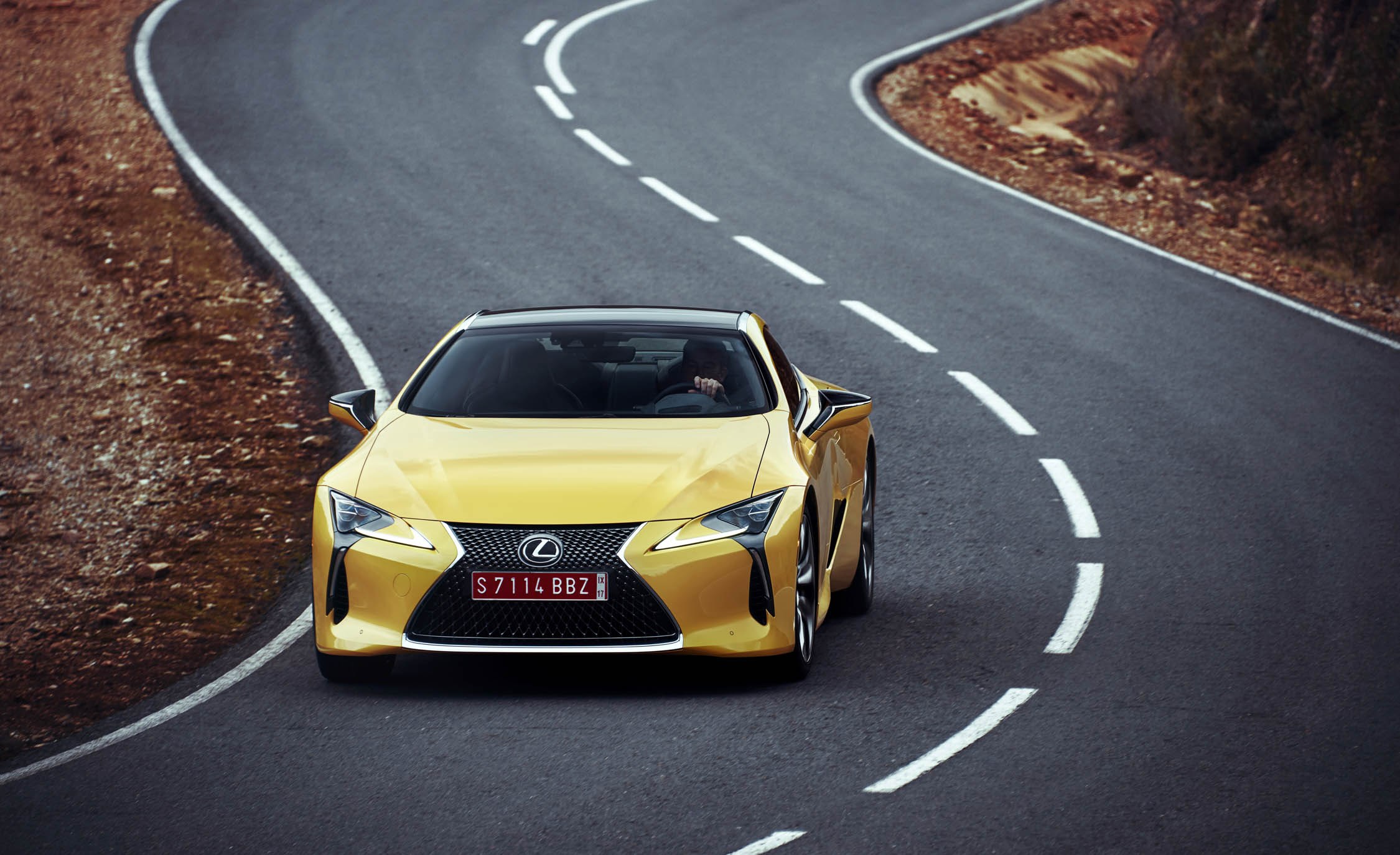 2018 Lexus Lc500 Yellow Test Drive Front Corner (Photo 73 of 84)