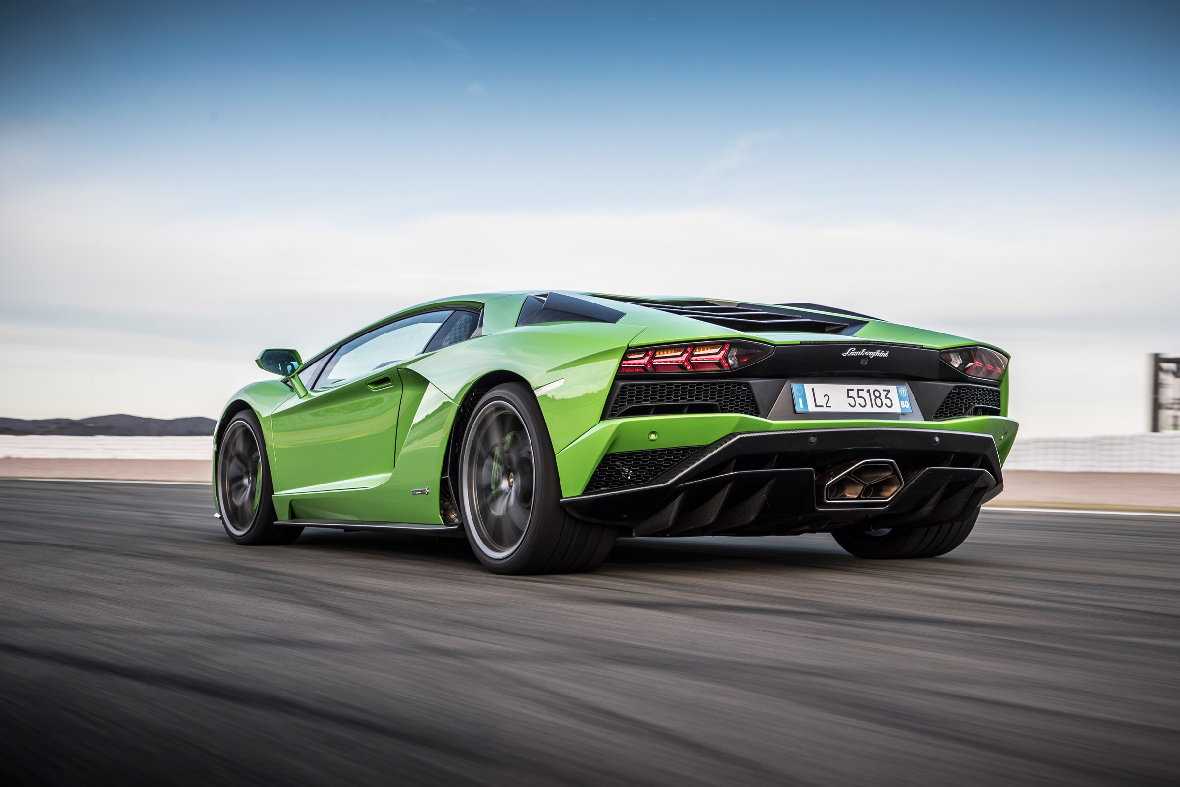 2017 Lamborghini Aventador S Green Rear And Side View (Photo 11 of 20)