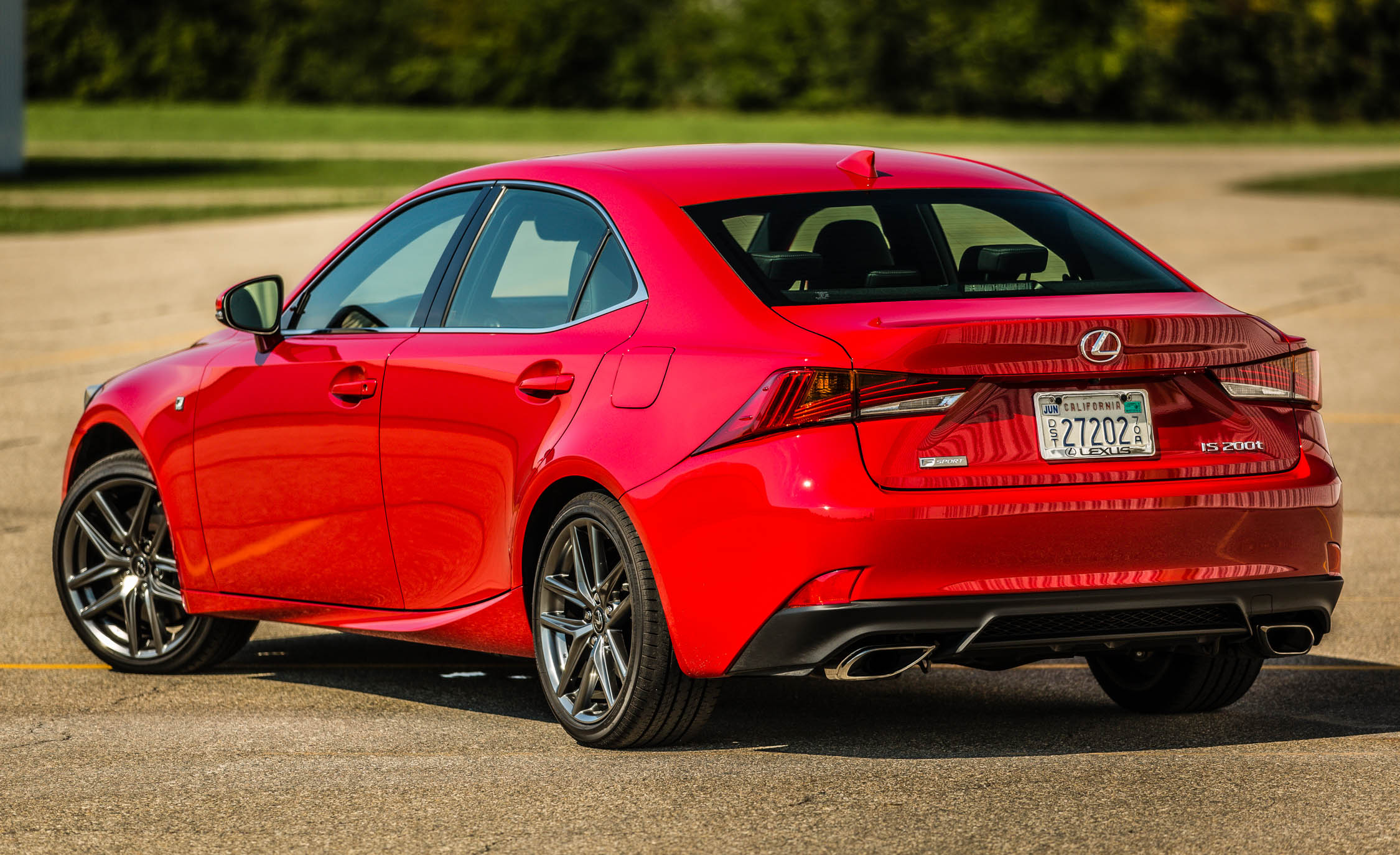 2017 Lexus IS 200t F Sport Red Exterior Rear And Side (Photo 16 of 29)