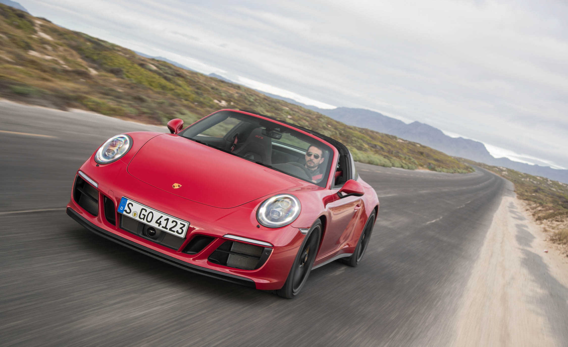 2017 Porsche 911 Targa 4 GTS Red Test Drive Front Corner (Photo 85 of 97)