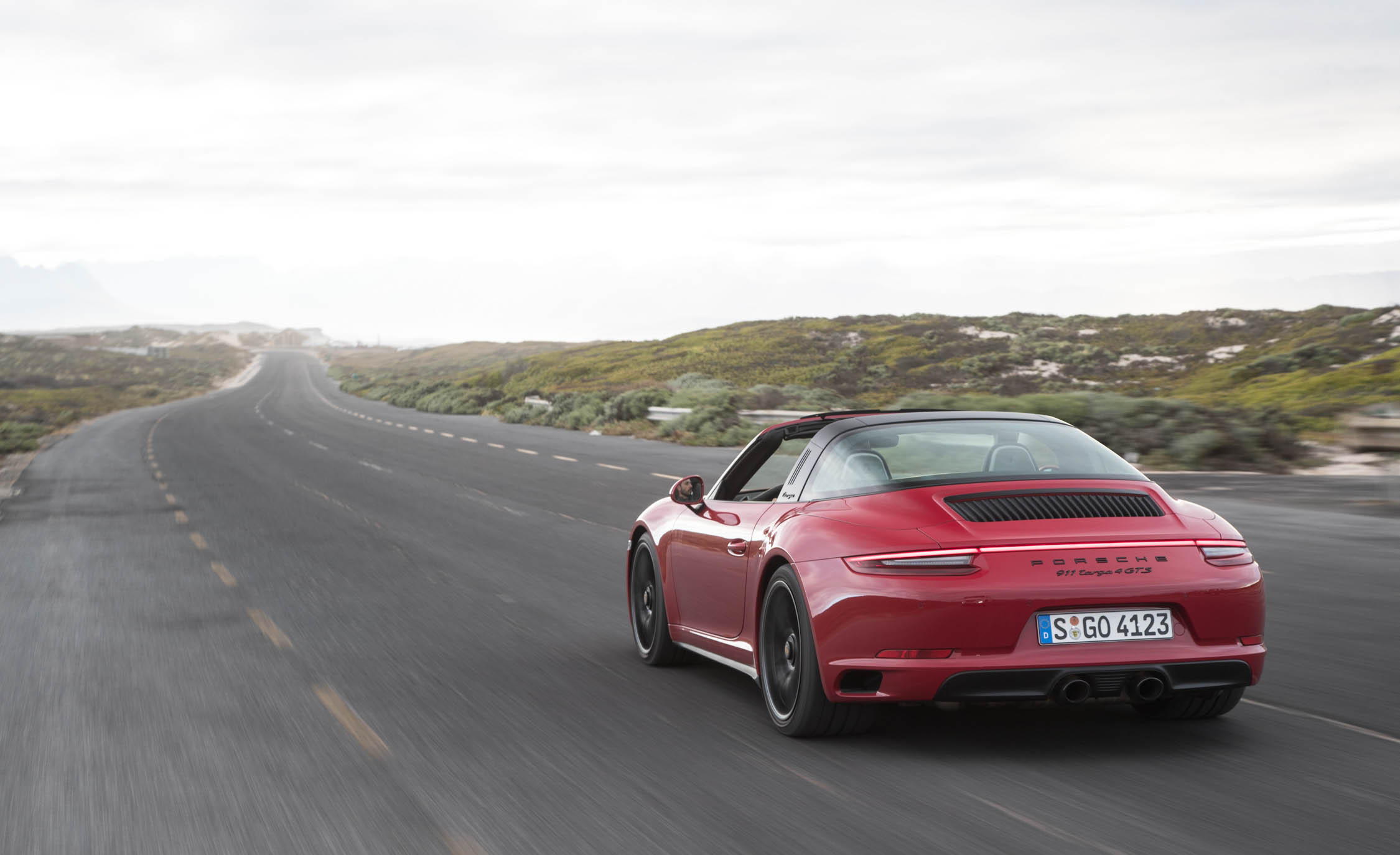 2017 Porsche 911 Targa 4 GTS Red Test Drive Rear And Side View (Photo 87 of 97)