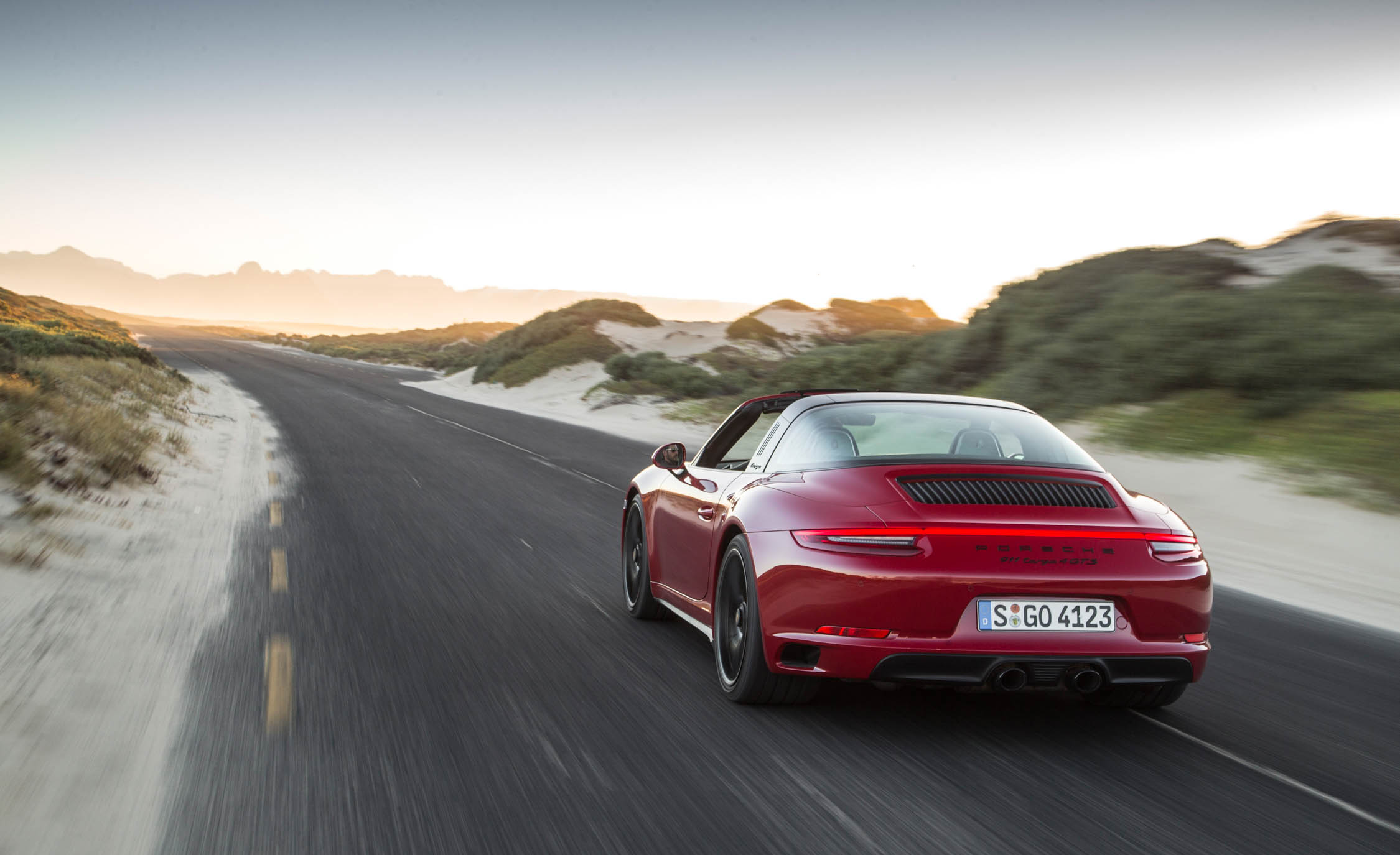 2017 Porsche 911 Targa 4 GTS Red Test Drive Rear Corner (Photo 88 of 97)
