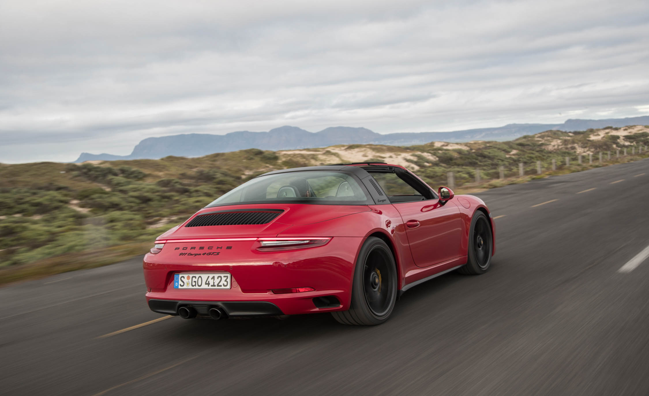 2017 Porsche 911 Targa 4 GTS Red Test Drive Side And Rear View (Photo 90 of 97)