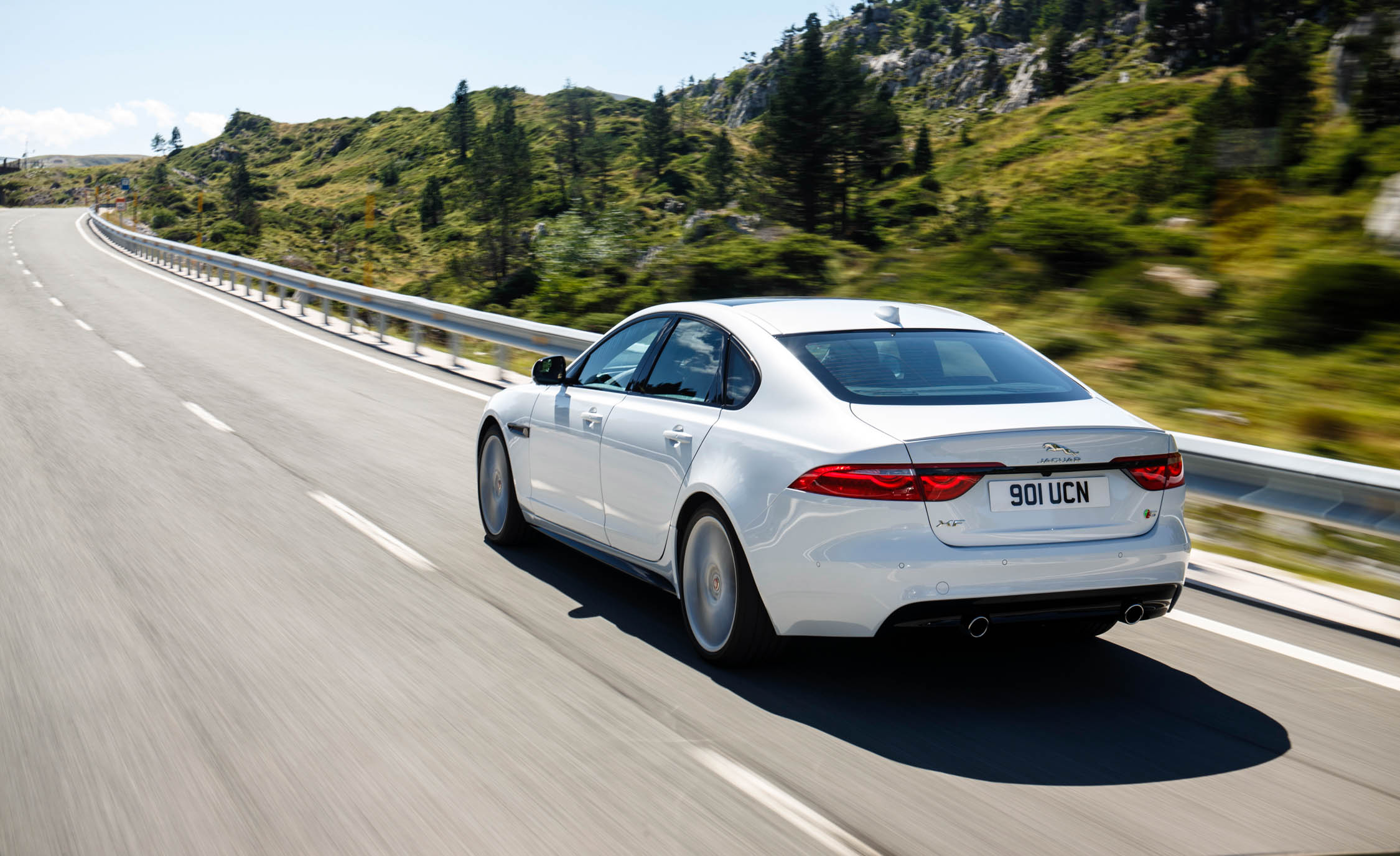 2018 Jaguar XF White Test Drive Rear View (View 2 of 3)