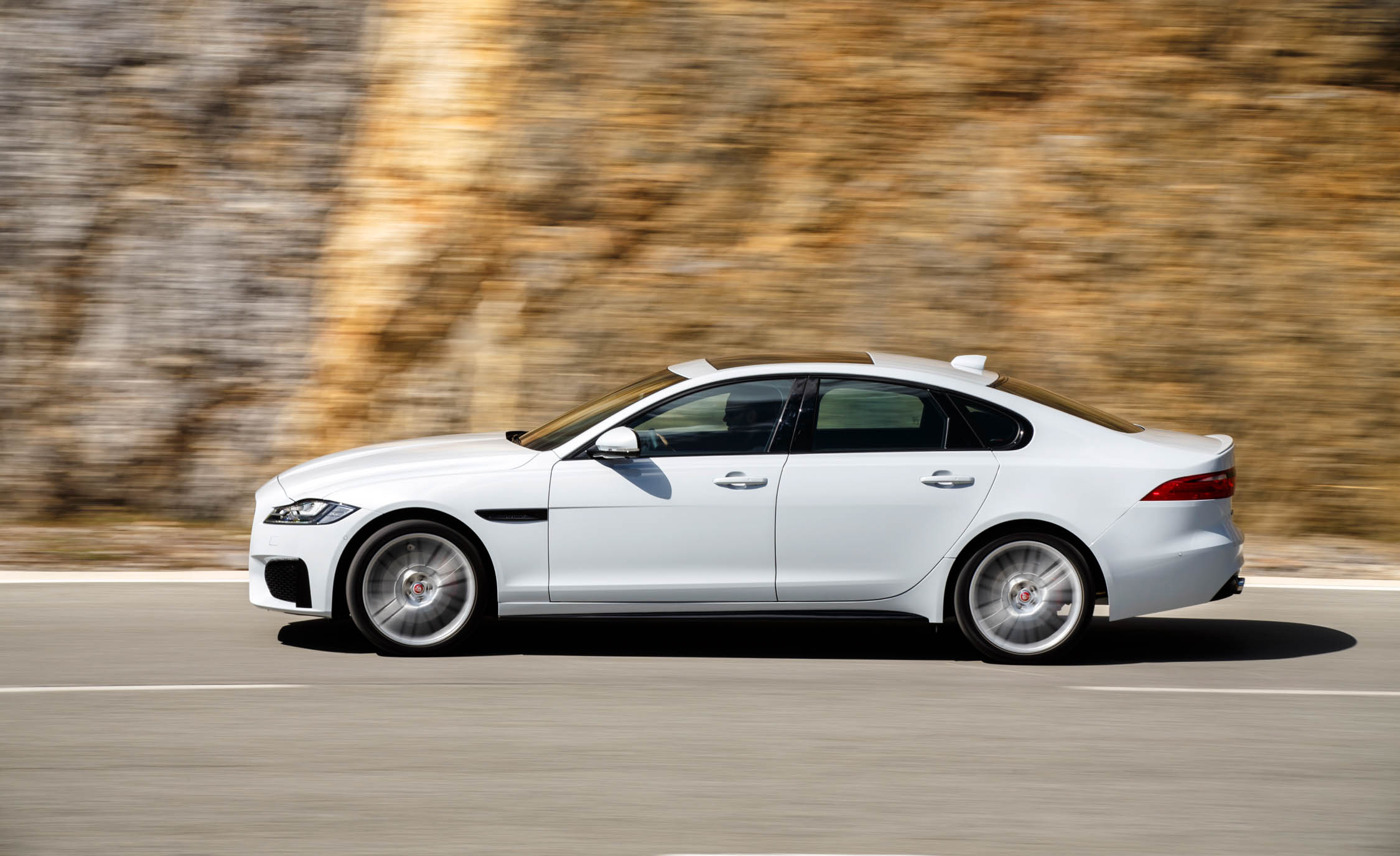 2018 Jaguar XF White Test Drive Side View (View 3 of 3)