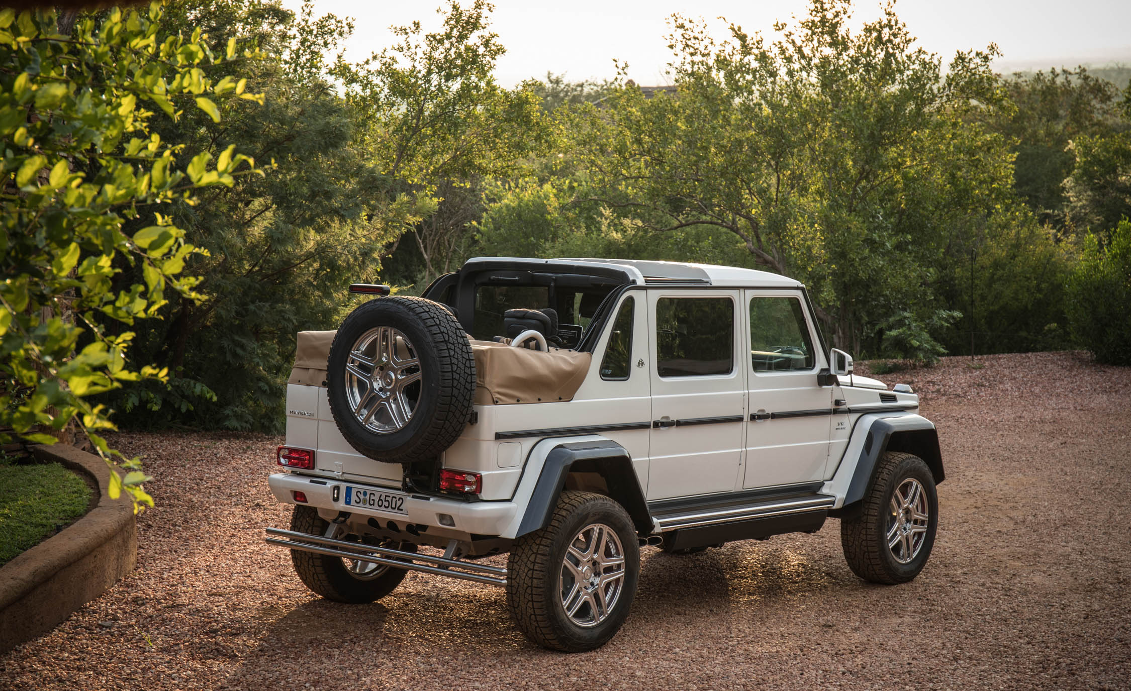 2018 Mercedes Maybach G650 Landaulet White Exterior Rear And Side Roof Open (Photo 49 of 52)
