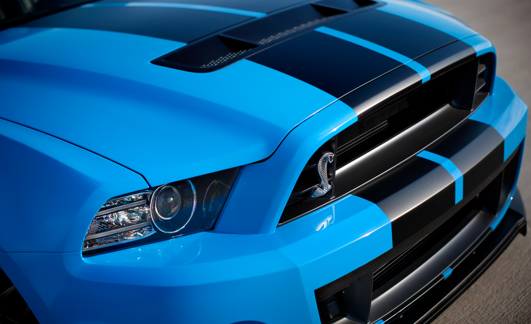 2013 Ford Mustang Shelby GT500 Blue Exterior View Grille And Front Bumper (Photo 5 of 47)