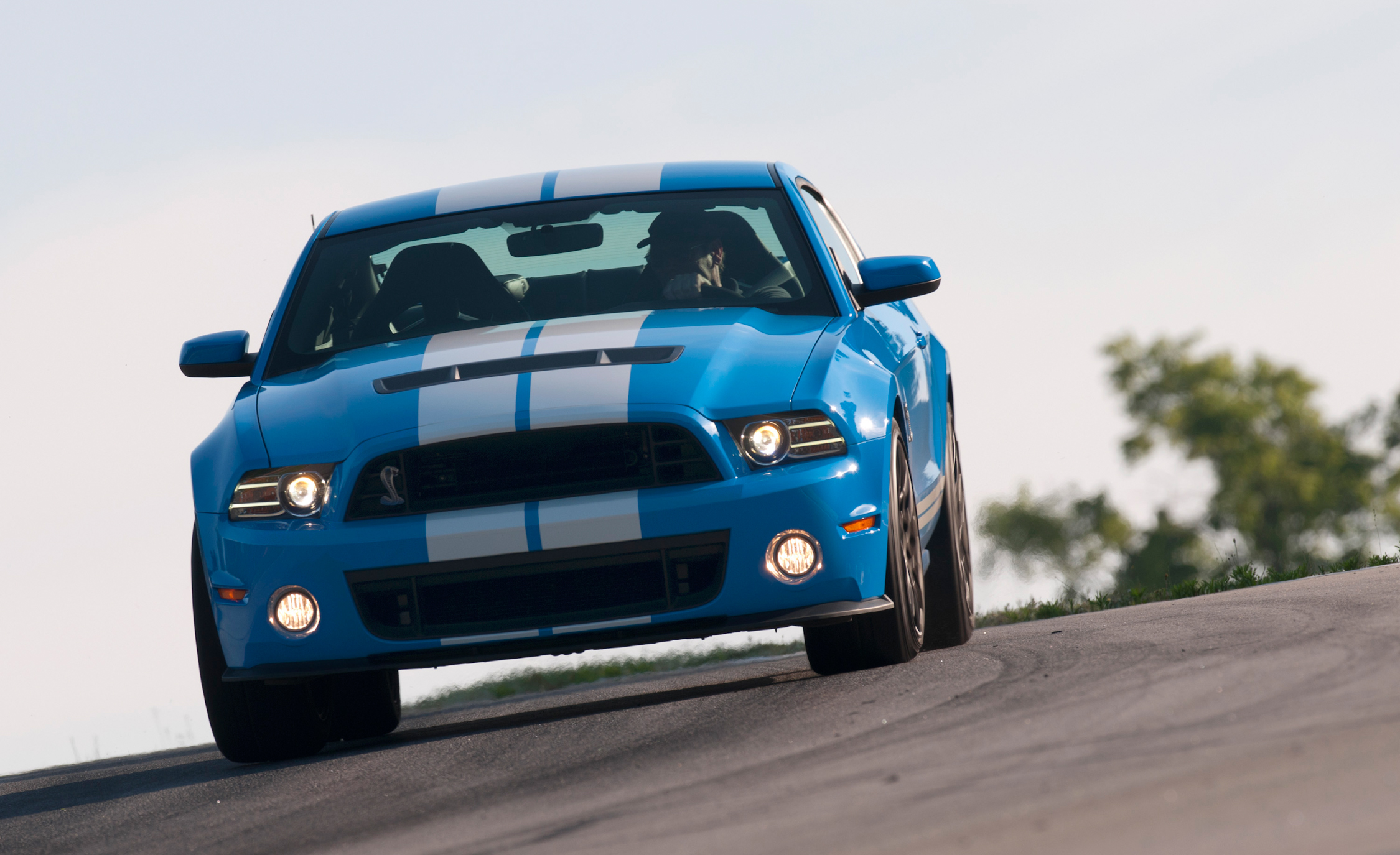 2013 Ford Mustang Shelby GT500 Blue Test Drive Front Preview (Photo 12 of 47)