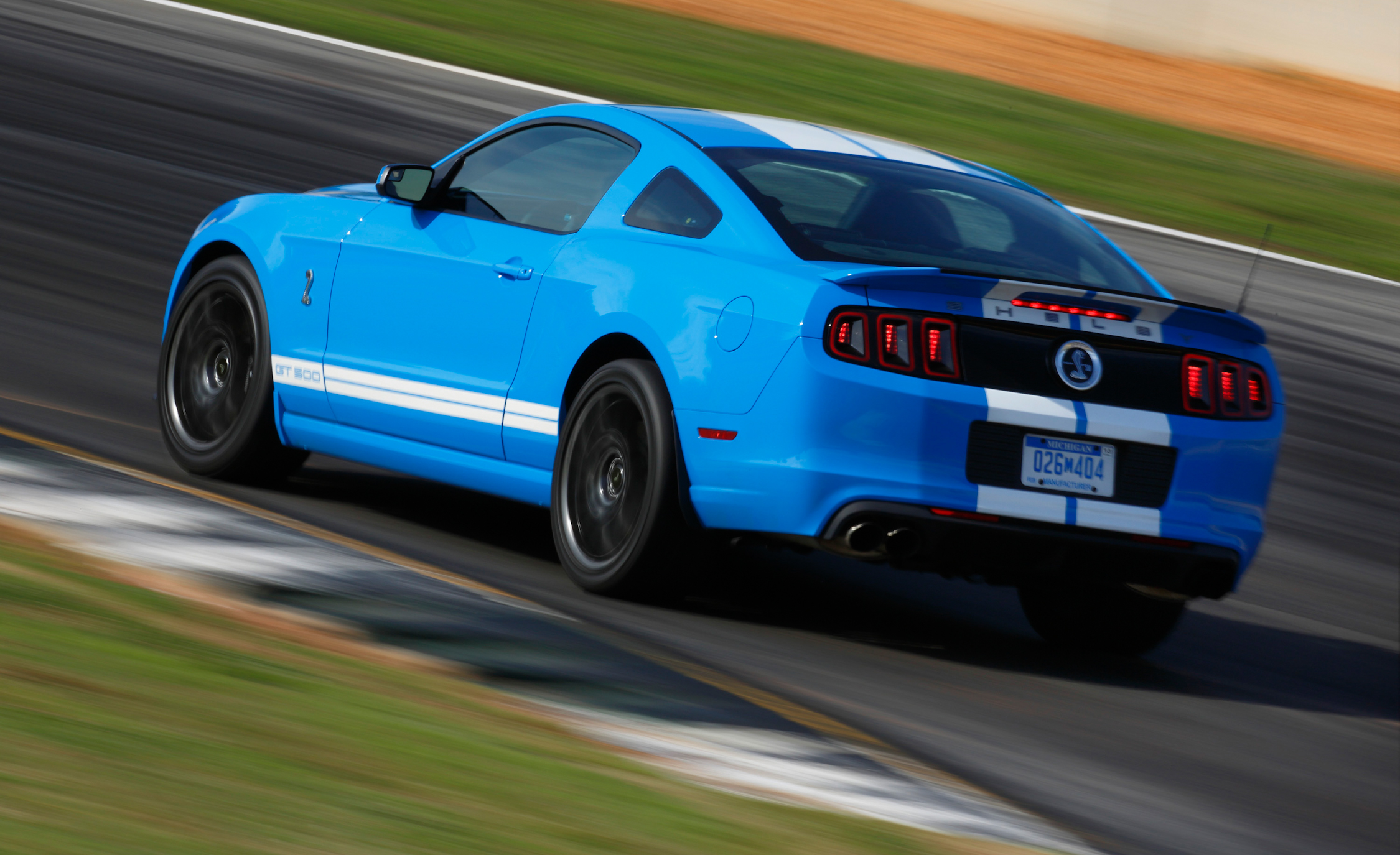 2013 Ford Mustang Shelby GT500 Blue Test Drive Rear And Side View (Photo 17 of 47)