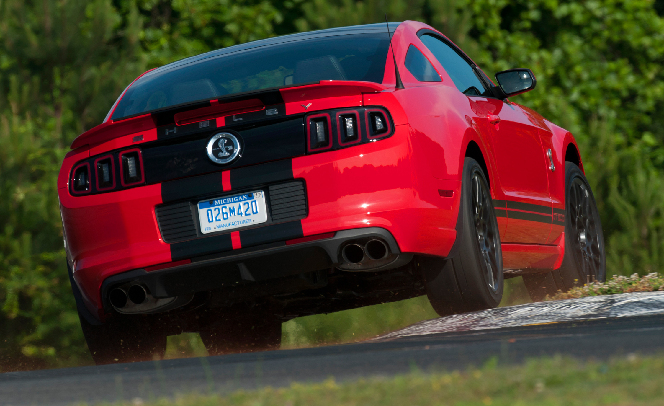 2013 Ford Mustang Shelby GT500 Red Test Drive Rear View (View 42 of 47)