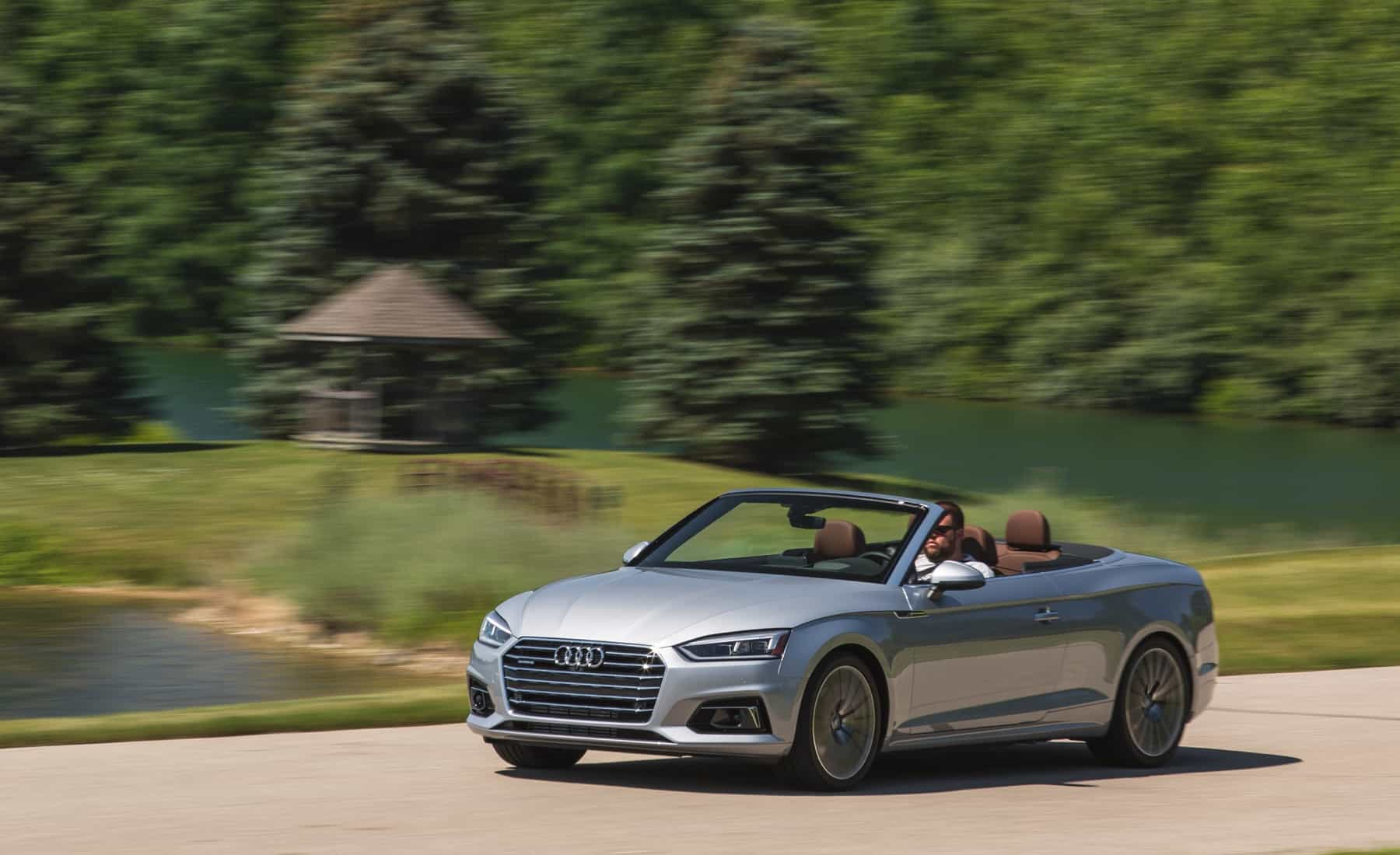 2018 Audi A5 Cabriolet Test Drive Roof Open Front And Side View (Photo 4 of 45)